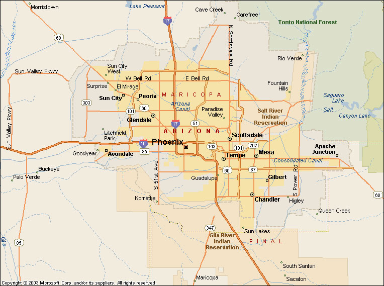 Pics Photos  Map Of The Cities Of Greater Phoenix